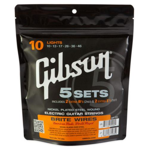 GIBSON CORDES - BRITE WIRES ELECTRIC 10/46 SET DE 5 JEUX