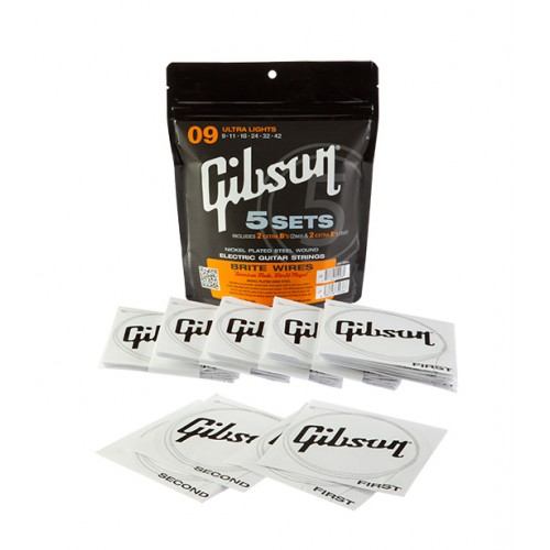 GIBSON CORDES - BRITE WIRES ELECTRIC 09/42 SET DE 5 JEUX